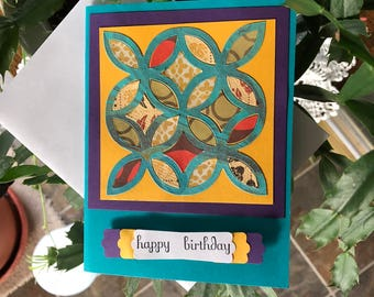 Happy Birthday Card for Quilter, Quilting Card, Multi-Colored, Quilting Squares, Dawns BlanchCards