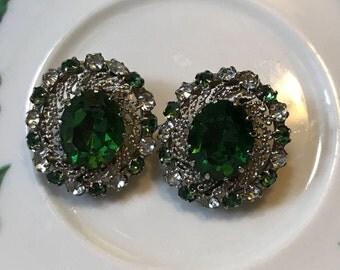 Gorgeous Emerald Green Rhinestone Clip earrings