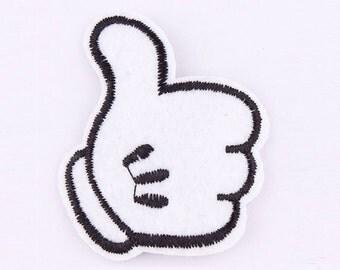 Thumb Iron on Applique, White Thumb Iron on Patch, Cute Cartoon Thump Iron-on Application
