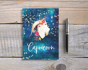 Writing Journal, Hardcover Notebook, Sketchbook, Zodiac Sign, Astrology, Unique Gift Under 20, Blank or Lined Pages- Capricorn