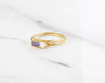 Amethyst Stacking Ring, Delicate Raw Ring, Handmade Amethyst Ring, Tiny February Birthstone, Amethyst Jewelry, Aquarius Gemstone, AME-G-R-S