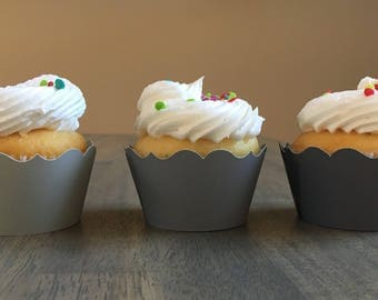 Grey Cupcake Wrappers | Cupcake Supplies | Cup cake wrappers | Cupcake Liners | Party Supplies