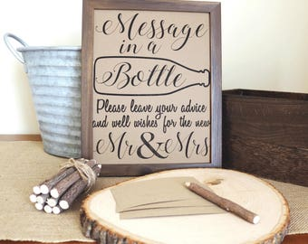 ON SALE . Instant Download .Message In A Bottle Sign, Rustic, Country, Message In A Bottle Guest Book, Bottle Guest Book, Wedding Guest Book