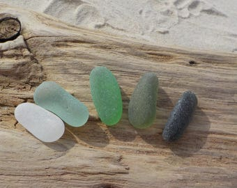 "5 Genuine Perfectly smoothed long Sea glass-Thick-0,9-1,2""- Jewelry quality- Ring, Earrings and Pendant size#J67#"