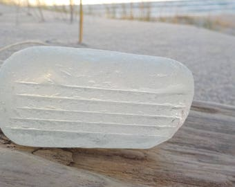 """Genuine white Thick and large textured Sea Glass piece-Size 2.5""""-Craft quality-Pretty textured white sea glass#G39#"""