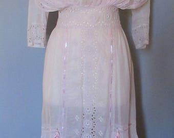 Edwardian Light Pink Cotton Day Dress