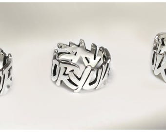 """""""Phrase and word"""" ring in 925 Silver"""
