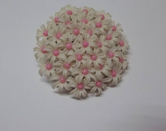 Vintage Celluloid Brooch White Pink Daisy's