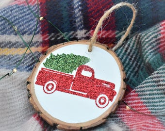 FREE SHIPPING - Red Truck Glitter Ornament - Farmhouse Ornament - Glitter Ornament - Wood Slice Ornament -