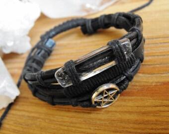 Men's Black Leather Quartz and Pentagram Bracelet