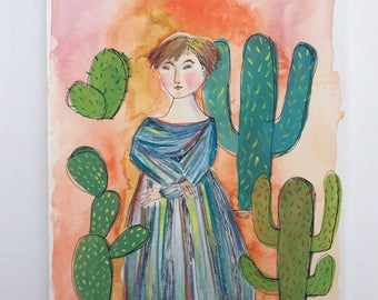 Cactus Queen. Original mixed media painting Original portrait Cactus art Original painting Woman Desert Home decor 9x12 Original art kmoeri
