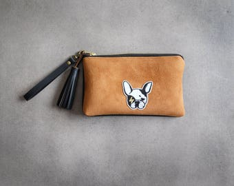 Pouch imitation brown and black leather with french bulldog and wrist band //