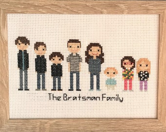 8-character Custom Cross Stitch Family - Wedding Cross Stitch - Cotton Anniversary - Wedding Gift - Anniversary Gift - Family Portrait