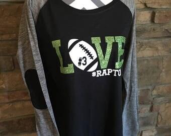 LOVE Football Shirt, Glitter Football Shirt, Football Mom Shirt, Custom Football Shirt, Football Preppy Raglan, Sports Mom Bling