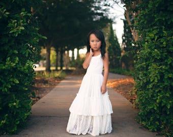 Boho White Lace Flower Girl Dress, Bohemian Lace Maxi Dress, Floral Lace Dress, First Communion Dress, Baptism Dress