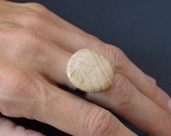 Natural stone ring and non-allergenic stainless steel # 6/17-18