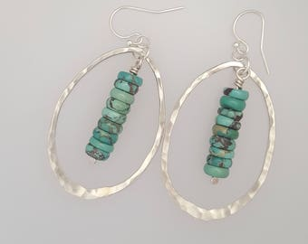 Sterling Silver & Turquoise Hoops