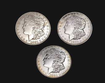 1921 PDS Morgan Silver Dollar - lot of 3 collectible high grade silver coins - Philadelphia Denver and San Francisco Mint -