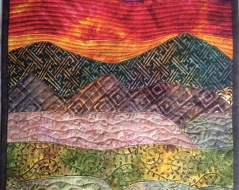 Art Quilt Sunset over Mountains, Landscape Quilt, Quilted Wall Hanging Bright Colors, Wall Quilt in Orange Purple and Green