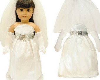 Beautiful White Bridal Dress Outfit Fits American Girl Doll, My Life Doll, Our Generation and other 18 inch Dolls