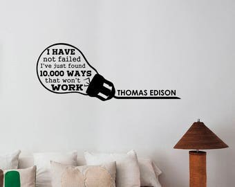 Thomas Edison Quote Wall Decal Inspirational Quote Sticker Vinyl Lettering Scientist Motivational Saying Art Home School Classroom Decor tq2