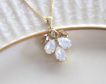 Crystal Bridal necklace, White opal necklace, Bridal jewelry, Wedding necklace, Bridesmaid necklace, Gold necklace, Swarovski necklace