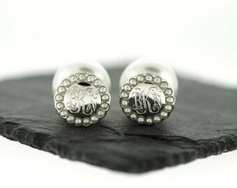 925 Sterling Silver Pearl Halo Peekaboo Earrings, Pearl Back Earrings, Double Pearl Earrings, Silver