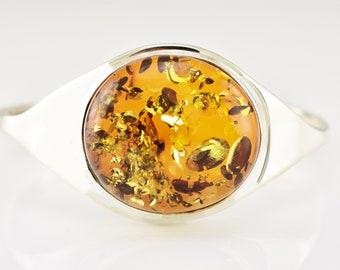 Amber Bracelet, Amber Silver Bracelet, Cognac Amber Bracelet, Cuff Amber Silver Bracelet, Amber Silver Bangle, Bracelet For Her