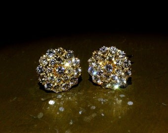 Antique Cluster Diamond Stud Earrings 20k