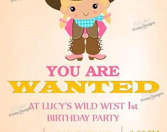 Cowgirl Western Wild West Wanted Birthday Invitation