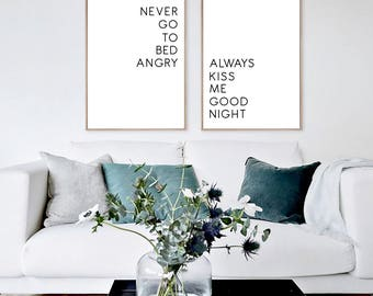 Always Kiss Me Good Night Never Go To Bed Angry, Modern Minimalist, Modern Home Decor, Couples Decor, Bedroom Poster, Modern print, set of 2