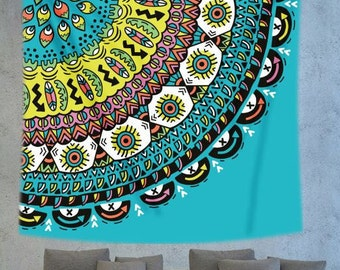 Turquoise Mandala wall hanging tapestry, hippie boho wall decor hanging, bohemian wall decor