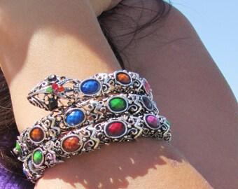 snake Jewelry Vintage Bracelet snake Bracelet Vintage snake bangle Silver Jewelry Silver Bracelet Statement Bracelet