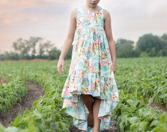 Girls Boho Dress - Girls Maxi Dress - Girls Hi-lo dress - Toddler Maxi Dress - Toddler Boho Dress - Floral Sundress - Boho Sundress
