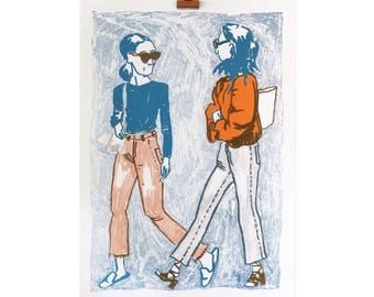 Screen printed Girls Talking About 50 x 70 print numbered and signed