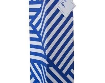 Geometric ZigZag Navy Blue & White Wine Bag (Set of 3)