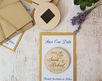 Save the Date magnets 10 pieces  Wooden Engraved   Save the Date Rustic Wood Save the Date with  Cards and Envelopes