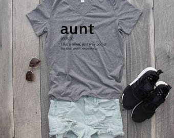 Aunt Relaxed Jersey V-Neck T-Shirt, Funny Shirt, Aunt Shirt, Fun Aunt