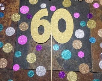 60 Cake Topper/60th Birthday Cake Topper/Age Cake Topper
