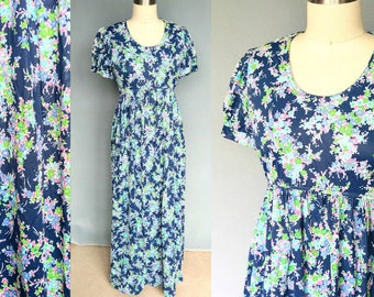 serendipity / 1970s blue floral maxi dress with puff sleeve / medium