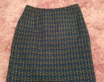 Vintage Chic Zip Up Secretary Skirt - Blue, Green and Gold Woven Print with Teal Lining - Size 6P - Wonderful Condition! Mad Men Style