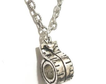 Antique Silver Measuring Tape Charm Chain Necklace Everyday Necklace