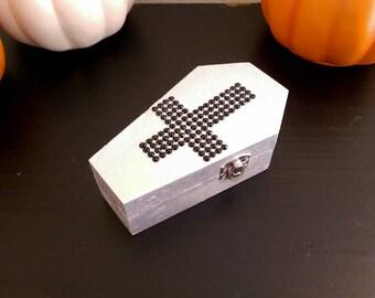 Silver Coffin Box \\ Rhinestone Inverted Cross \\ Halloween Decor \\ Gothic Decor \\ Keepsake and Jewelry Box