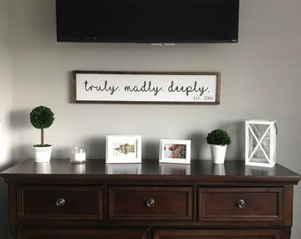 Truly Mady Deeply Sign | Farmhouse sign | Framed Sign | Rustic Sign | Framed farmhouse | White Framed Sign | Living room Sign | Wedding Gift