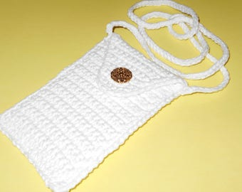"Crochet Cell Phone Purse/Case or Bag in White With 40"" Strap, Case is 5 and 3/4"" Long X 3 and 1/2 Inches Wide"