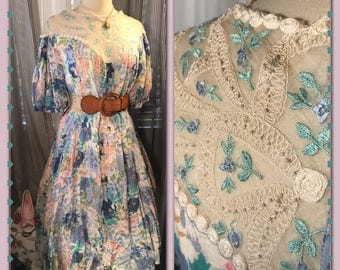 A WORK of HEART - Womens Vintage Dream// Dress// Lace// Embroidery// Floral// Downton Abbey// Victorian// Tea Party