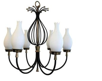 Vintage italian stilnovo chandelier - brass and black metal chandelier - white glass chandelier - brass stilnovo chandelier - vintage light