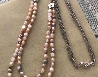 Multi-Strand Natural Pearl Necklace