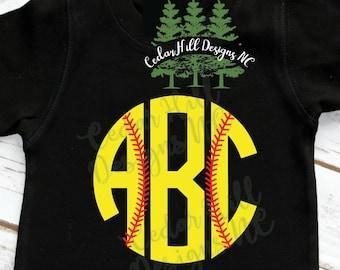 Softball Monogram Shirt, Monogram Shirt, Sports Mongoram; Baseball Shirt
