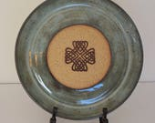 Handmade, wheel thrown, ceramic plate, blue, Celtic symbol, Irish